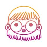 Degraded line beauty girl head with glasses and hairstyle. Vector illustration stock illustration