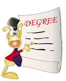 Degree. Illustration with degree and nice dog graduate Stock Photography