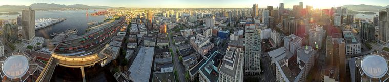 A 360-degree aerial view of the city of Vancouver stock photography