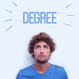 Degree against anxious student. The word degree against anxious student Royalty Free Stock Photos