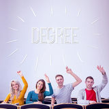 Degree against college students raising hands in the classroom Stock Images