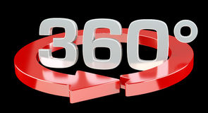 360 degree 3D render icon. On black background Royalty Free Stock Photos