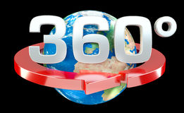 360 degree 3D render icon. On black background Royalty Free Stock Photo