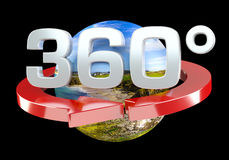 360 degree 3D render icon Stock Photo
