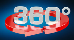 360 degree 3D render icon. On blue background Royalty Free Stock Photos