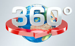 360 degree 3D render icon. On grey background Stock Photo