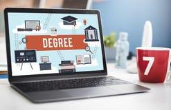 Degree Diploma Bachelor Master Expertise Wisdom Concept. Computer Notebook Screen Degree Diploma Bachelor Master Expertise Wisdom stock images