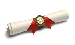 Degree with Diploma Medal. Degree Scroll with Red Ribbon and Diploma Medal Isolated on White Background Stock Photos