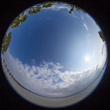 360 degree fisheye view of south carolina. 360 degree fisheye view of water and town in south carolina stock photo