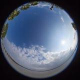 360 degree fisheye view of south carolina. 360 degree fisheye view of water and town in south carolina Stock Photo