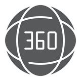 360 degree glyph icon, angle and view, rotate sign, vector graphics, a solid pattern on a white background. 360 degree glyph icon, angle and view, rotate sign vector illustration