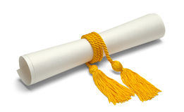 Degree With Honor Cords. Diploma with Gold Honor Cords Isolated on White Background Stock Photography