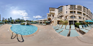 360 degree hotel and swimming pool Royalty Free Stock Photography