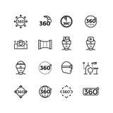 Degree image, panorama, virtual reality thin line icons Royalty Free Stock Photos