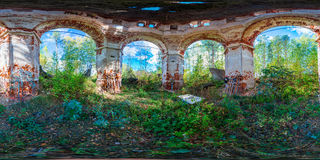 360 degree inside the ruined Church spherical panorama. Full 360 degree panorama inside the ruined Church. 360 by 180 degree angle of view in equirectangular stock image