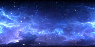 360 degree interstellar cloud of dust and gas. Space background with nebula and stars. Glowing nebula, equirectangular projection, royalty free illustration