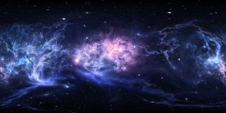 360 degree interstellar cloud of dust and gas. Space background with nebula and stars. Glowing nebula, equirectangular projection royalty free illustration