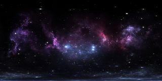 360 degree interstellar cloud of dust and gas. Space background with nebula and stars. Glowing nebula, equirectangular projection stock illustration
