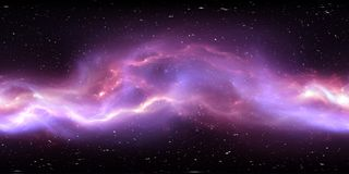 360 degree interstellar cloud of dust and gas. Space background with nebula and stars. Glowing nebula, equirectangular projection. Environment map. HDRI royalty free illustration