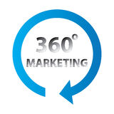 360 degree marketing sign. With a circular arrow, white background.crime Stock Photography