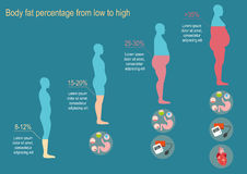 The degree of obesity. Vector illustration Royalty Free Stock Photos