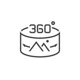 360 Degree Panorama Image sign. line icon, outline vector logo i. Llustration, linear pictogram isolated on white Royalty Free Stock Photography