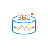 360 Degree Panorama Image sign. line icon, outline vector logo illustration, linear pictogram isolated on white. Stock Images