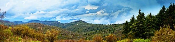 180 degree panorama of rain in mountains. 180 degree panorama of great smoky mountains in rain Royalty Free Stock Photos