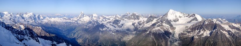360 degree panorama view of the mountain above Zermatt in the Alps of Switzerland stock images