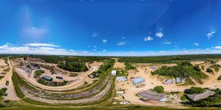 360-degree panoramic aerial view from drone to sand pit. Russia Stock Image