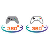 360 degree panoramic game line icon, outline and solid vector si Royalty Free Stock Photos