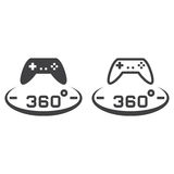 360 degree panoramic game line icon, outline and solid vector si Stock Image