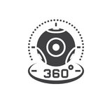 360 degree panoramic video camera icon vector, virtual reality d. Evice solid logo illustration, pictogram isolated on white Stock Photography