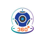 360 degree panoramic video camera icon vector, virtual reality device solid logo illustration, pictogram isolated on white. 360 degree panoramic video camera Stock Images