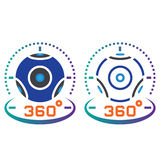 360 degree panoramic video camera line icon, outline and solid v Royalty Free Stock Photos