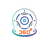 360 degree panoramic video camera line icon, virtual reality device outline vector logo illustration, linear pictogram. 360 degree panoramic video camera line Stock Photos