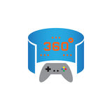 360 degree panoramic video game icon vector, solid logo illustration, pictogram isolated on white. Royalty Free Stock Photo