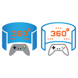 360 degree panoramic video game line icon, outline and solid vec Stock Photography