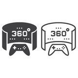 360 degree panoramic video game line icon, outline and solid vec Royalty Free Stock Images