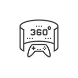 360 degree panoramic video game line icon, outline vector logo i Stock Images