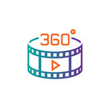 360 degree panoramic video sign. line icon, outline vector logo illustration, linear pictogram isolated on white. 360 degree panoramic video sign. line icon Royalty Free Stock Photos