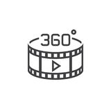360 degree panoramic video sign. line icon, outline vector logo. Illustration, linear pictogram isolated on white Stock Image