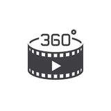 360 degree panoramic video sign. vector icon, solid logo illustr. Ation, pictogram isolated on white Stock Image