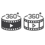 360 degree panoramic video symbol. line icon, outline and solid Royalty Free Stock Photo