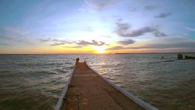 180 degree panoramic view of the coast line with empty beaches at sunset in winter. SOCHI. RUSSIA - CIRCA DEC 2015: 180 degree panoramic view of the coast line stock footage