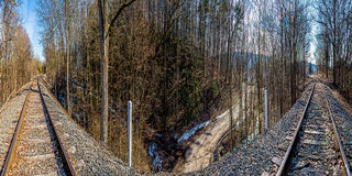 180 Degree Railroad Track Panorama. A 180 degree railroad track panorama combined from 6 images to have both directions of track in one photo Royalty Free Stock Photo