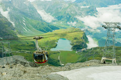360 Degree revolving cable bus at Mount Titlis Engelberg Switzerland Royalty Free Stock Images
