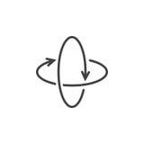 360 degree rotation arrows line icon, virtual reality outline ve Stock Photos