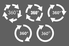 360 degree rotation icons. 360 degree rotation arrow icon set. White arrows on grey background. Circular panorama photography icons. Used for virtual visit of Royalty Free Stock Photo