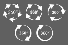 360 degree rotation icons. 360 degree rotation arrow icon set. White arrows on grey background. Circular panorama photography icons. Used for virtual visit of Stock Photo